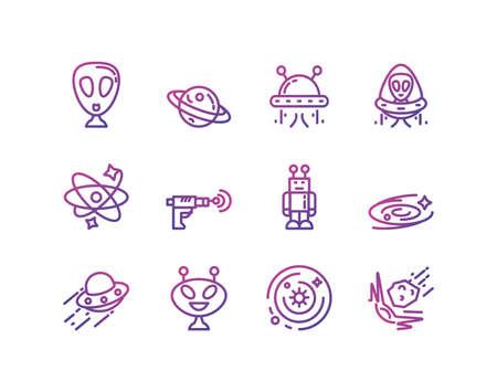 Icon set of space futuristic cosmos outside universe astronomy adventure and exploration theme Vector illustration Vettoriali