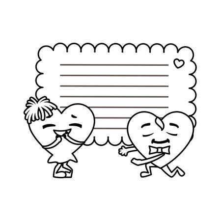 card valentines day with background sheet to write vector illustration design Ilustração