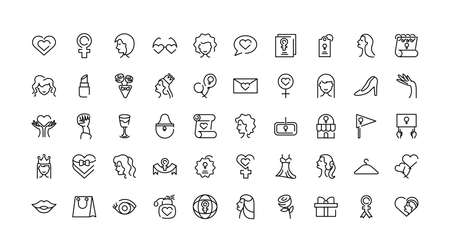 female gender and womens day icons set over white background, line style, vector illustration