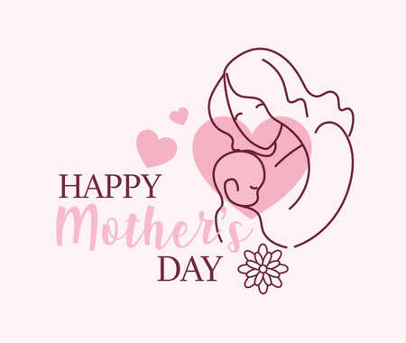 silhouette of woman with baby, label happy mother day vector illustration design