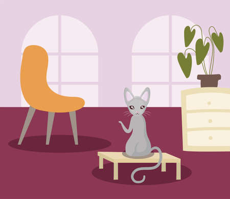 cute cat in living room vector illustration design