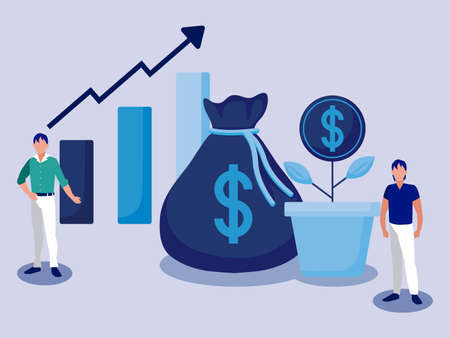 Businessmen with money bag and coin plant design, business management corporate job occupation strategy worker and professional theme Vector illustration