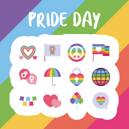 flat style icon set design, Pride day lgbt sexual orientation and identity theme Vector illustration