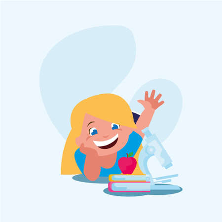 School girl kid with books design, Eduaction class lesson knowledge preschooler study learning classroom and primary theme Vector illustration Illustration