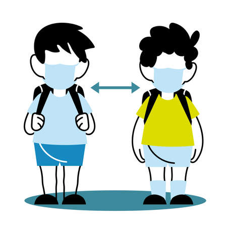 distancing children with masks at school vector illustration