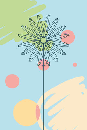 multicolor trendy tropical banner, exotic flower with leaves vector illustration design