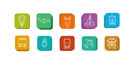 Icon set design, Transportation vehicles transport wheel speed traffic road and travel theme Vector illustration