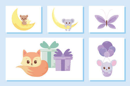 Cute cartoons icon set design, Animals zoo life nature character childhood and adorable theme Vector illustration