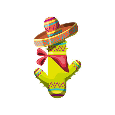 cute cactus with mexican hat on white background vector illustration design