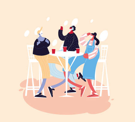 group people celebrating with drinks they use face masks vector illustration design Ilustracja
