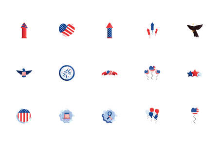 Usa icon set design, United states america independence day nation us country and national theme Vector illustration