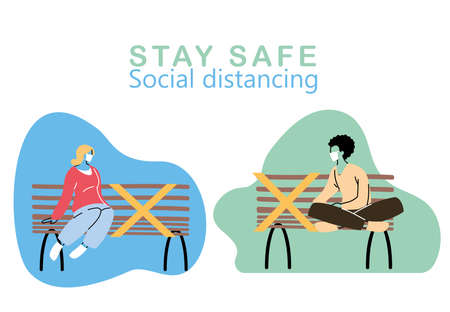 women with mask sitting at safe distance vector illustration design Vectores