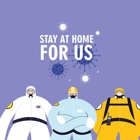 Front line medical team with protective suits vector illustration design
