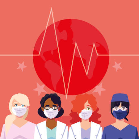 Women doctors with masks in front of pulse and stars design of Medical care health and emergency theme Vector illustration 일러스트