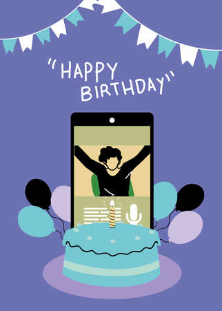 man on smartphone with cake and balloons design, Happy birthday and video chat theme Vector illustration Иллюстрация