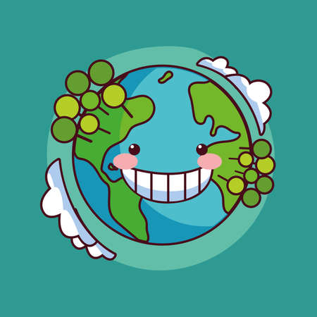 card of planet earth smiling vector illustration design 向量圖像