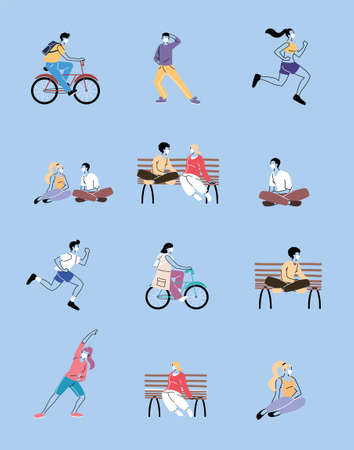 set of icons with people doing sports vector illustration design