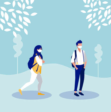 Woman and man with mask outside design of Covid 19 virus theme Vector illustration Illustration