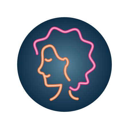 woman with curly hair over white background, neon style icon, vector illustration