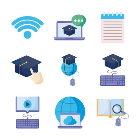 set of icons online education, education technology vector illustration design Banque d'images - 150888029