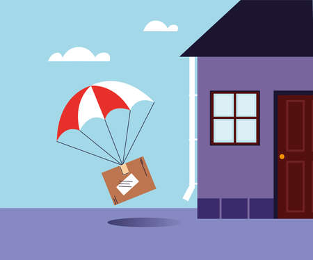 cardboard box with parachute delivery at the door of the house vector illustration design