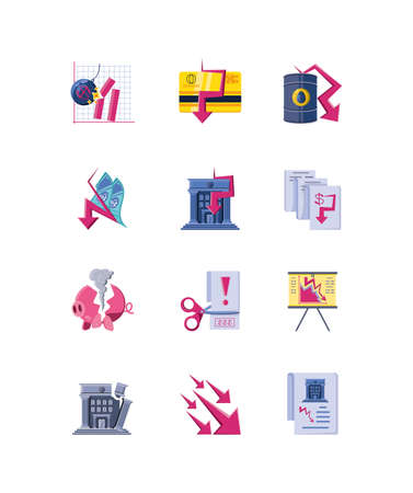 set of icons collapsed economy on white background vector illustration design Ilustracja