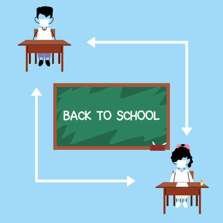 school kids keeping distance, students wearing a face mask sitting on chair in the classroom, social distancing vector illustration design Banque d'images - 150888038