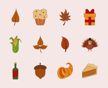 Happy thanksgiving day icon set design, Autumn season holiday greeting and traditional theme Vector illustration