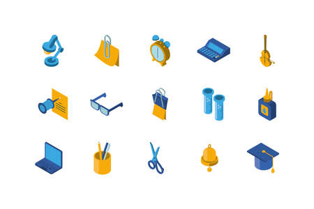 School icon set design, Eduaction class lesson knowledge preschooler study learning classroom and primary theme Vector illustration Banque d'images - 150888088