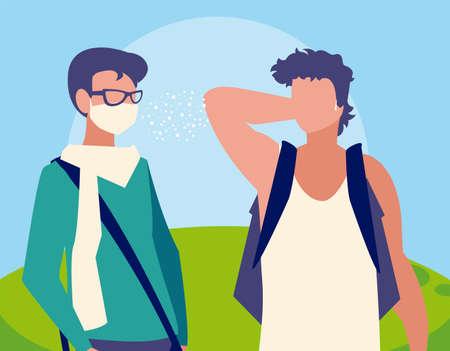 Men avatars with masks outside design of Covid 19 virus theme Vector illustration