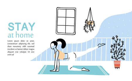 woman young exercising at home vector illustration desing