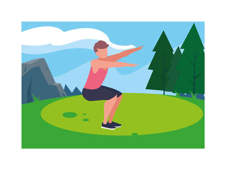 man outdoors exercising with background landscape vector illustration design