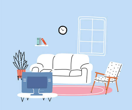 modern living room with sofa, banner vector illustration design Banque d'images - 150888335