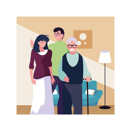 couple of people and grandfather in living room vector illustration design