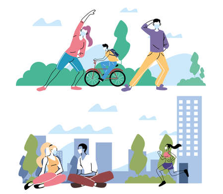 poster people doing physical activity outdoors at the park vector illustration design Иллюстрация