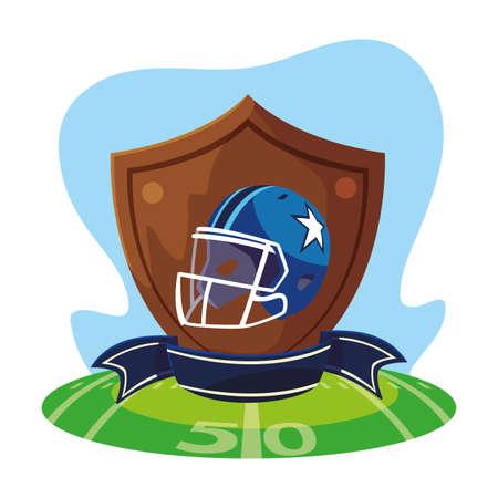 american football helmet in shield with ribbon vector illustration design