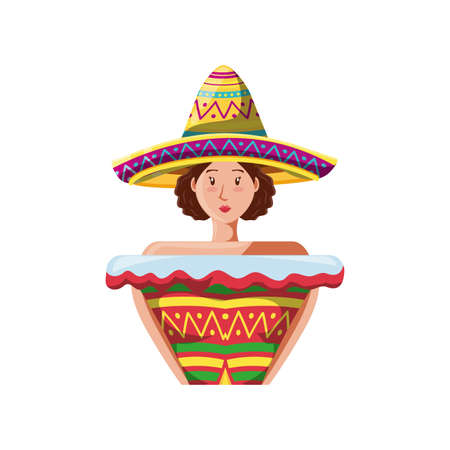 woman in typical mexican costume on white background vector illustration design