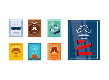 set of fathers day cards vector illustration design