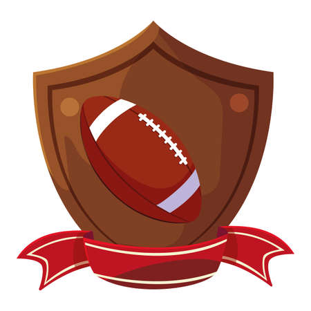 american football ball in shield with ribbon vector illustration design Ilustracja