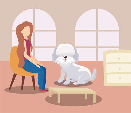 woman in the living room with a cute dog, stay home vector illustration design