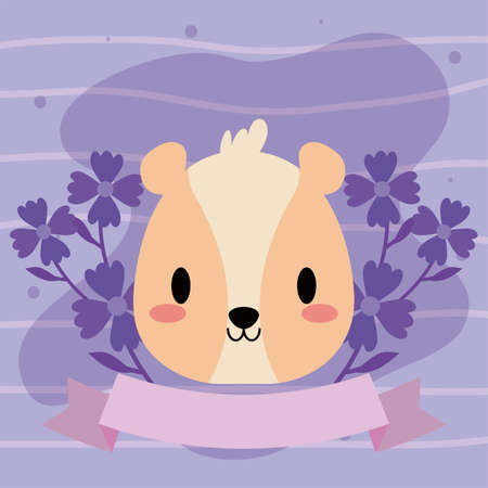 head of hamster with decor vector illustration design