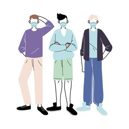 young men with medical masks standing on white background vector illustration design