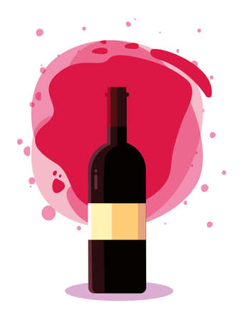 Wine bottle in front of red splash design, Winery alcohol drink beverage restaurant and celebration theme Vector illustration