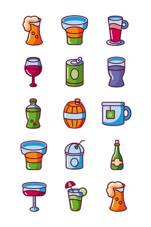 beverages and drinks icons set, fill style, vector illustration