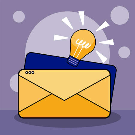 Envelope and light bulb design, Email mail message letter marketing communication card and document theme Vector illustration