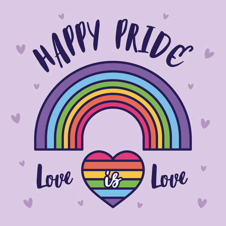 happy pride love is love heart and lgtbi rainbow design, sexual orientation and identity theme Vector illustration