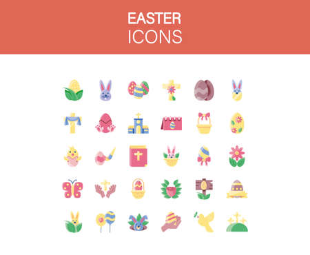 happy easter icons set over white background, colorful design, vector illustration
