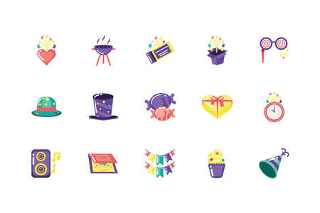 Icon set design, Party celebration event happy birthday holiday surprise anniversary and decorative theme Vector illustration Ilustracja