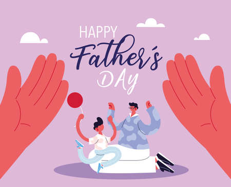 man and son, card of the happy father day vector illustration design