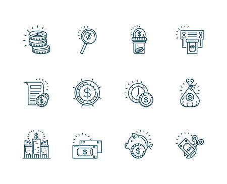 money and Tax day icons set over white background, line style, vector illustration